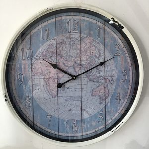 Wall clock featuring an antique atlas background and distressed finish