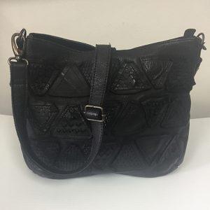 Rugged Hide Erin Handbag in a textured triangular patch design