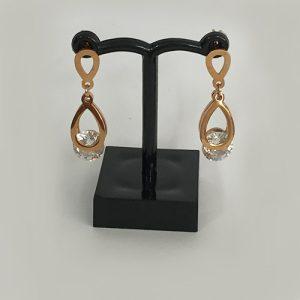 Diamante, rose gold-plated drop earrings
