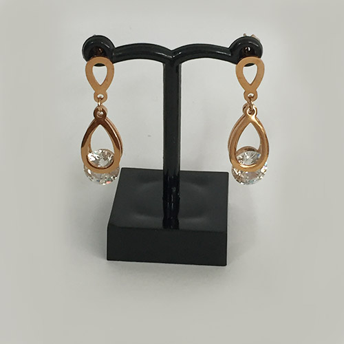Diamante, rose gold-plated drop earrings