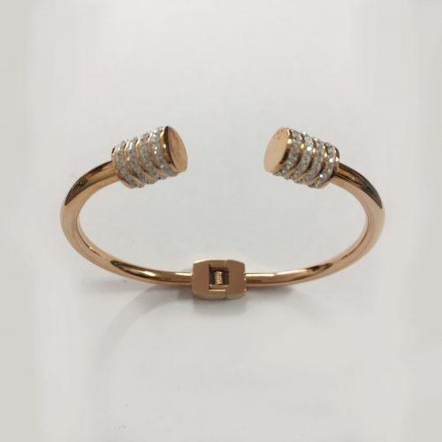 Rose gold-plated open bangle with diamante detailing on each end