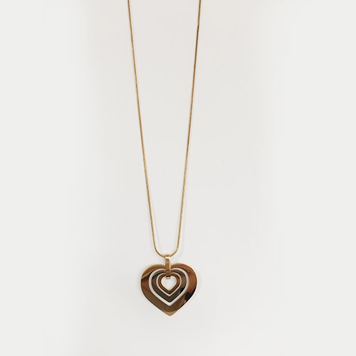 Three-tier gold-plated heart pendant and necklace
