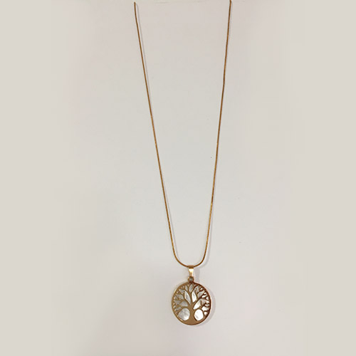 Tree of life pendant featuring mother of pearl and hanging on a snake chain necklace