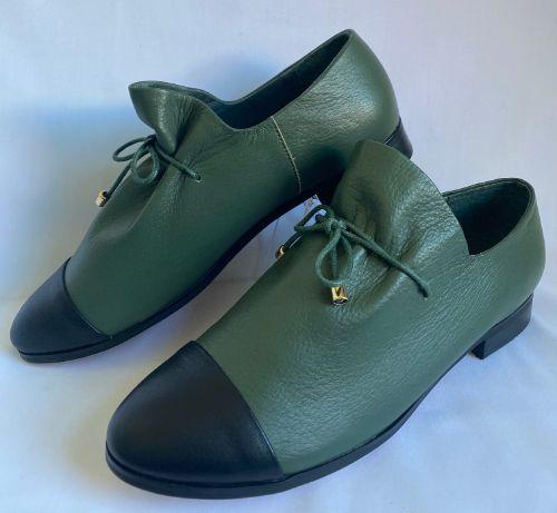 Django Juliette forest green womens leather shoe