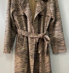 Safari trench coat zebra print suede