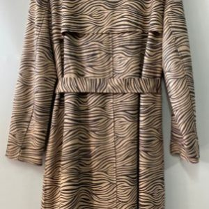 Safari zebra print trench coat rear view