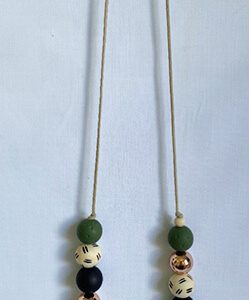 Cute as a Button beaded necklace on a leather cord