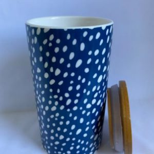 bone china canister with blue and white pattern