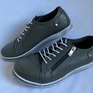Cabello leather activewear shoe in dark grey