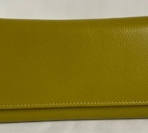 Olive green wallet made of genuine leather