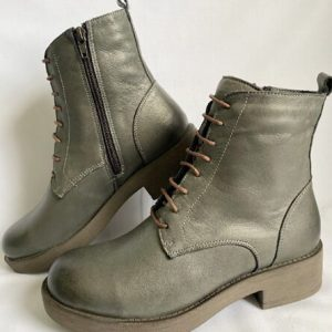 Bueno Grey leather lace-up boots
