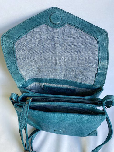 Interior of turquoise leather shoulder bag