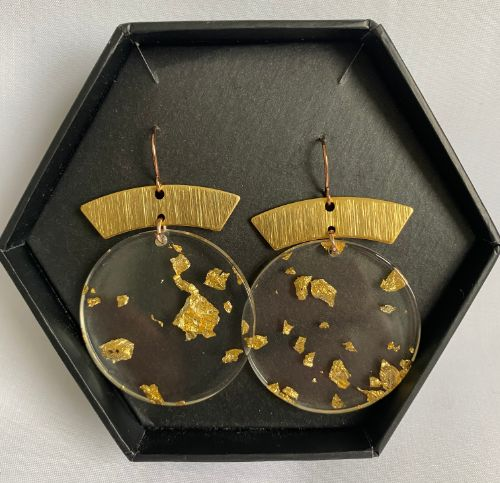 Madella Designs round earrings with gold-look brass features