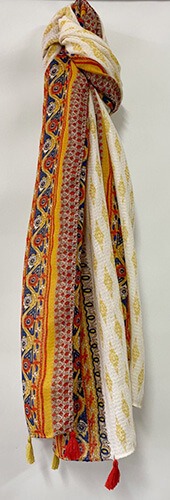 Multi-coloured patterned scarf