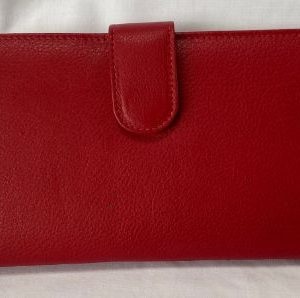 Red textured leather wallet exterior