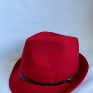 scarlet red trilby had with buckled leather trim