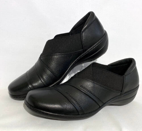 75a cabello black leather shoe elasticated cuff
