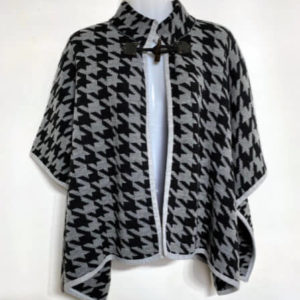 86a aggel grey black houndstooth cape