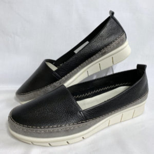 93a flexx black leather casual shoe