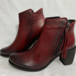 95a EOS vintage style red leather ankle boot